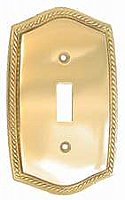 Polished Brass Rope Design Single Toggle Switchplate