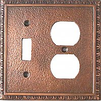 Toggle / Duplex Egg and Dart Antique Copper Switchplate