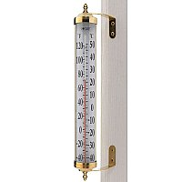 Grande View Thermometer, 24inch, Living Finish Brass