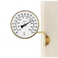 Vermont Dial Window Thermometer, Living Finish Brass