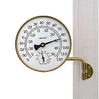 Vermont Weather Station - Thermometer and Barometer - Living Finish Brass