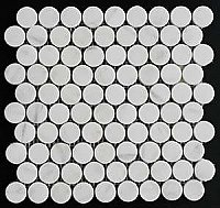"1"" Honed Marble Penny Round Mosaic Tile - Statuary White"