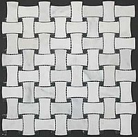 Honed Marble Wickerweave Mosaic Tile - Statuary White