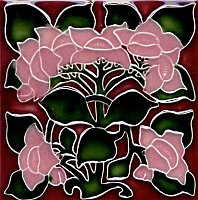 Art Tile, Art Nouveau Flowers, Pink on Red