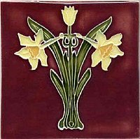Art Tile, Art Nouveau Flowers, Yellow and Green on Red