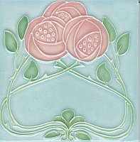 Art Tile, Art Nouveau Roses, Pink and Green on Light Blue