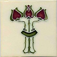 Art Tile, Art Nouveau Flowers, Red and Green on Cream