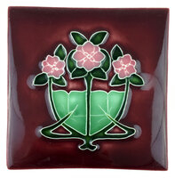 Art Tile, Art Nouveau Design - Three Pink Flowers with Green Leaves, Burgundy Background