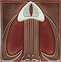 Art Tile, Art Nouveau Design, White, Red, and Brown
