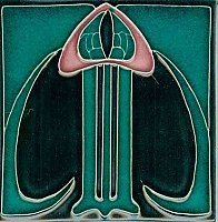 Art Tile, Art Nouveau Design, Pink and Green