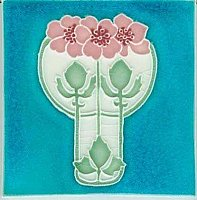 Art Tile, Art Nouveau Flowers, Pink and White on Turquoise