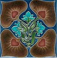 Art Tile, Art Nouveau Design, Brown, Red, Green, and Turquoise on Dark Blue