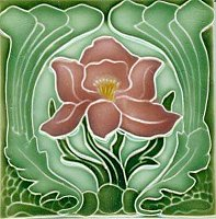 Art Tile, Art Nouveau Flowers, Pink, Yellow and Green