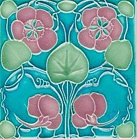 Art Tile, Art Nouveau Flowers, Pink and Green on Turquoise