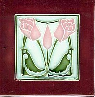 Art Tile, Art Nouveau Flowers, Pink and Green on Light Blue with Red Border