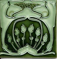 Art Tile, Art Nouveau Design, Light Green Foliage on Dark Green