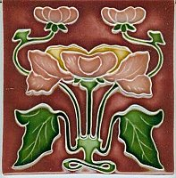 Art Tile, Art Nouveau Flowers, Pink, Gold, and Green on Red