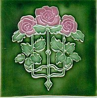 Art Tile, Art Nouveau Roses, Pink and Green on Dark Green