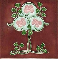 Art Tile, Art Nouveau Flowers, Pink Flowers and Green Vines on Red