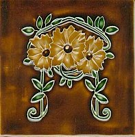 Art Tile, Art Nouveau Flowers, Gold Flowers and Green Leaves on Brown