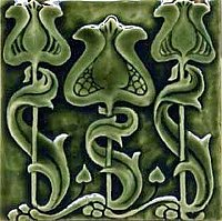 Art Tile, Art Nouveau Design, Green Flowers and Vines on Green