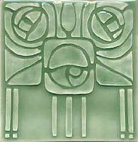 Art Tile, Art Nouveau Design, Green on Green