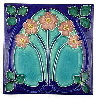 Art Tile, Art Nouveau Flowers, Pink, Turquoise, and Green on Blue