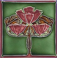 Art Tile, Art Nouveau Flowers, Red and Brown on Green