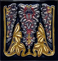 Art Tile, Art Nouveau Design, Dark Blue, Red, and Gold