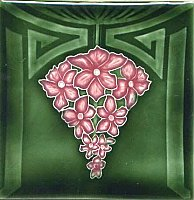 Art Tile, Art Nouveau Design, Pink Flowers on Dark Green