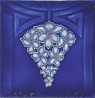 Art Tile, Art Nouveau Design, Blue Flowers on Dark Blue