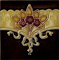 Art Tile, Art Nouveau Design, Red Flowers with Gold Ribbon Design on Black