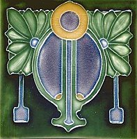 Art Tile, Art Nouveau Design, Gold, Blue, and Green on Green