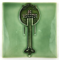 Art Tile, Art Nouveau Flowers, Green Tones