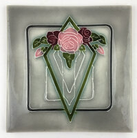 Art Tile, Art Nouveau Flowers, Pink, Burgundy, Green on Gray