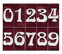 "Art Nouveau House Number Tile - Red - 3"" x 6"""
