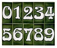 "Art Nouveau House Number Tile - Green - 3"" x 6"""