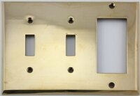 Polished Forged Unlacquered Brass Double Toggle/Single GFCI Switchplate