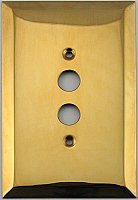 Jumbo Oversized Unlacquered Brass Stamped Single Pushbutton Switchplate / Cover Plate