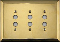 Jumbo Oversized Unlacquered Brass Stamped Triple Pushbutton Switchplate / Cover Plate