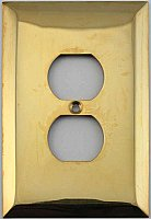 Jumbo Oversized Unlacquered Brass Stamped Single Duplex Switchplate / Cover Plate