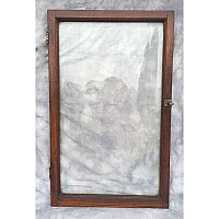 Antique Single Oak Beveled Glass Cabinet Door
