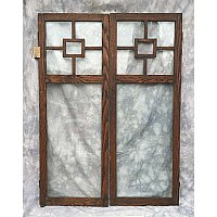 Antique Pair of Chestnut Glass Cabinet Doors