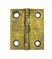 "Antique Set of Three Brass Cabinet Hinges 1-1/4"" x 1-1/2"""