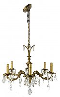 Antique Cast Brass 6-Arm Ceiling Light Fixture Chandelier - Circa 1920