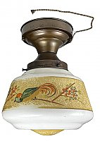 Antique Dark Bronze Ceiling Pan Fixture with Hand-Painted Shade - Circa 1920