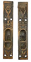 "Pair of Antique Cast Iron Mortise or Flush Door Bolts in ""Arcadia"" Design by Sargent & Co. - Circa 1874"