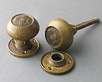 "Antique pair of Bronze ""Monica"" Design Doorknob & Rosettes"