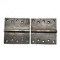 "Antique Pair of T Clark's Broad Cast Iron Door Butt Hinge - 4-1/2"" x 4-1/2"""