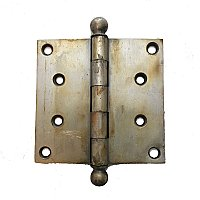 "Antique Cast Brass with Brushed Nickel Finish Ball Tip Hinge 4"" x 4"""